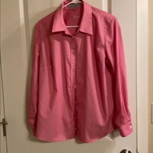 Fox Croft 14W pink and white striped blouse
